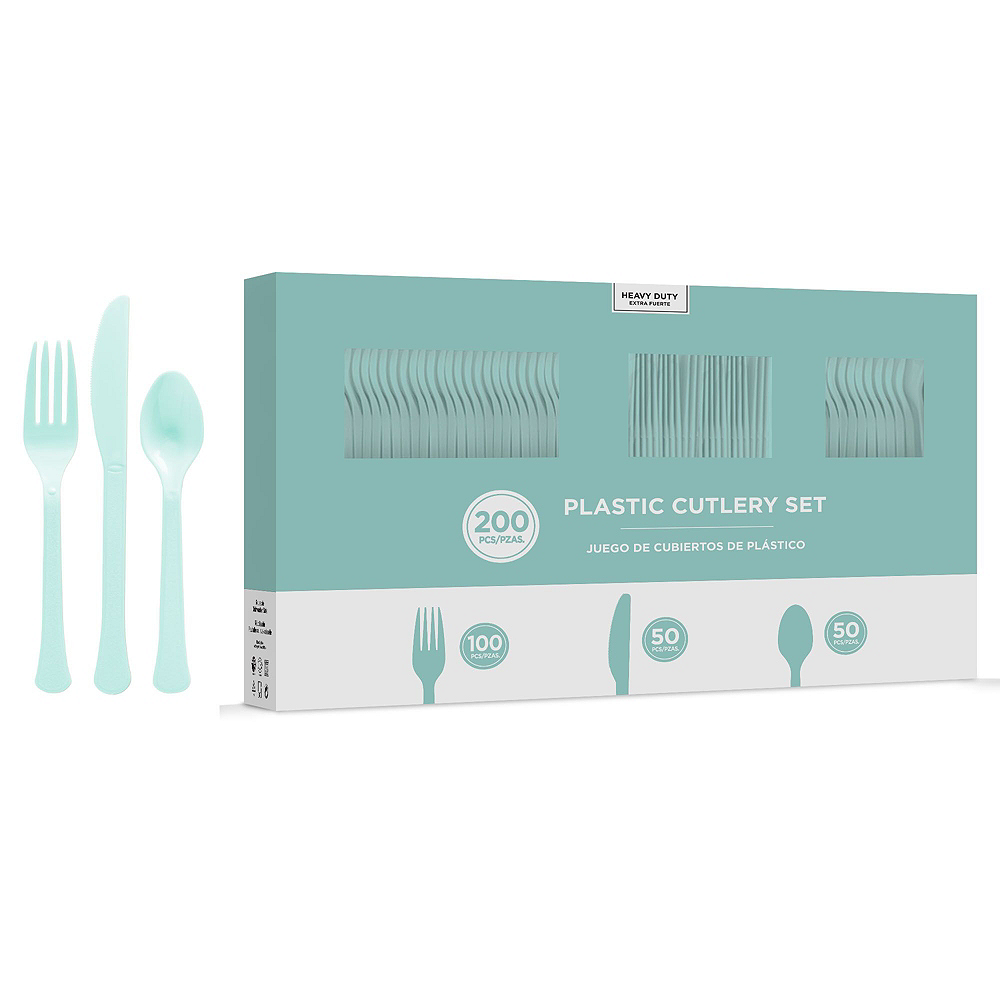 Robin's Egg Blue Plastic Tableware Kit for 100 Guests Image #8
