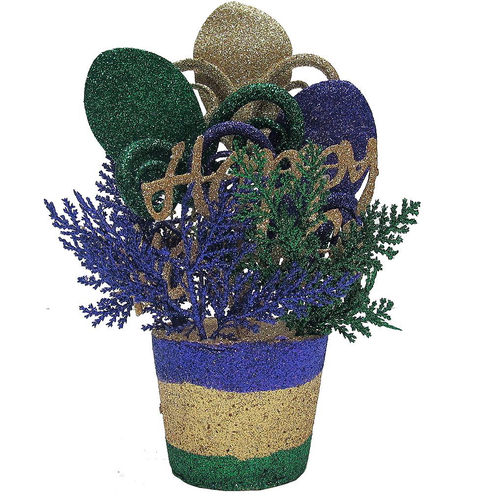 Glitter Mardi Gras Plant Pot Centerpiece Image #1