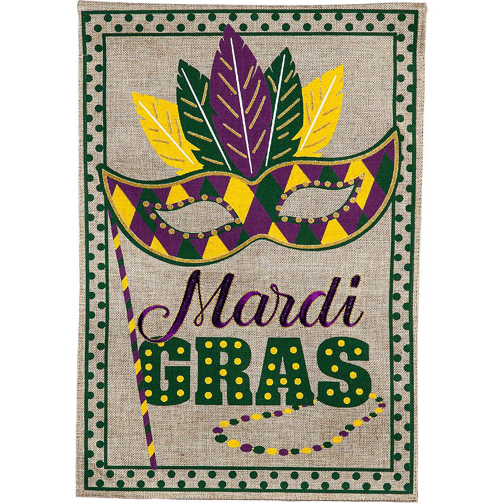 Burlap Mardi Gras Garden Flag Image #1