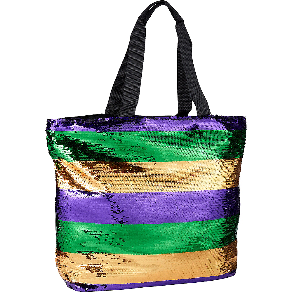 Gold, Green & Purple Sequin Tote Bag Image #1
