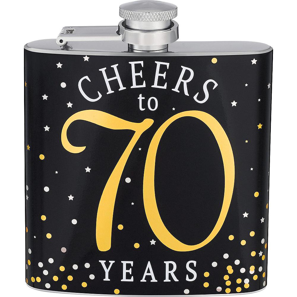 Milestone Birthday Cheers to 70 Years Flask Image #1