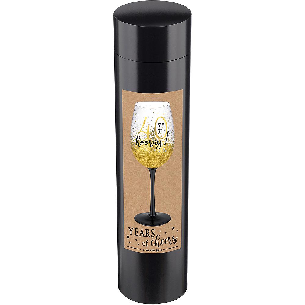 Glitter Gold 40th Milestone Birthday Wine Glass Image #2