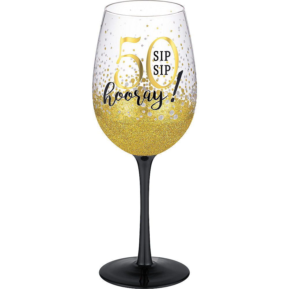 Glitter Gold 50th Milestone Birthday Wine Glass Image #1