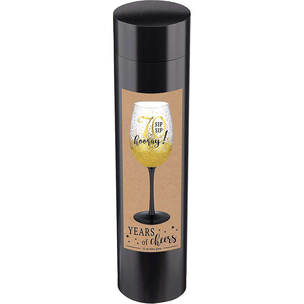 Glitter Gold 70th Milestone Birthday Wine Glass Image #2