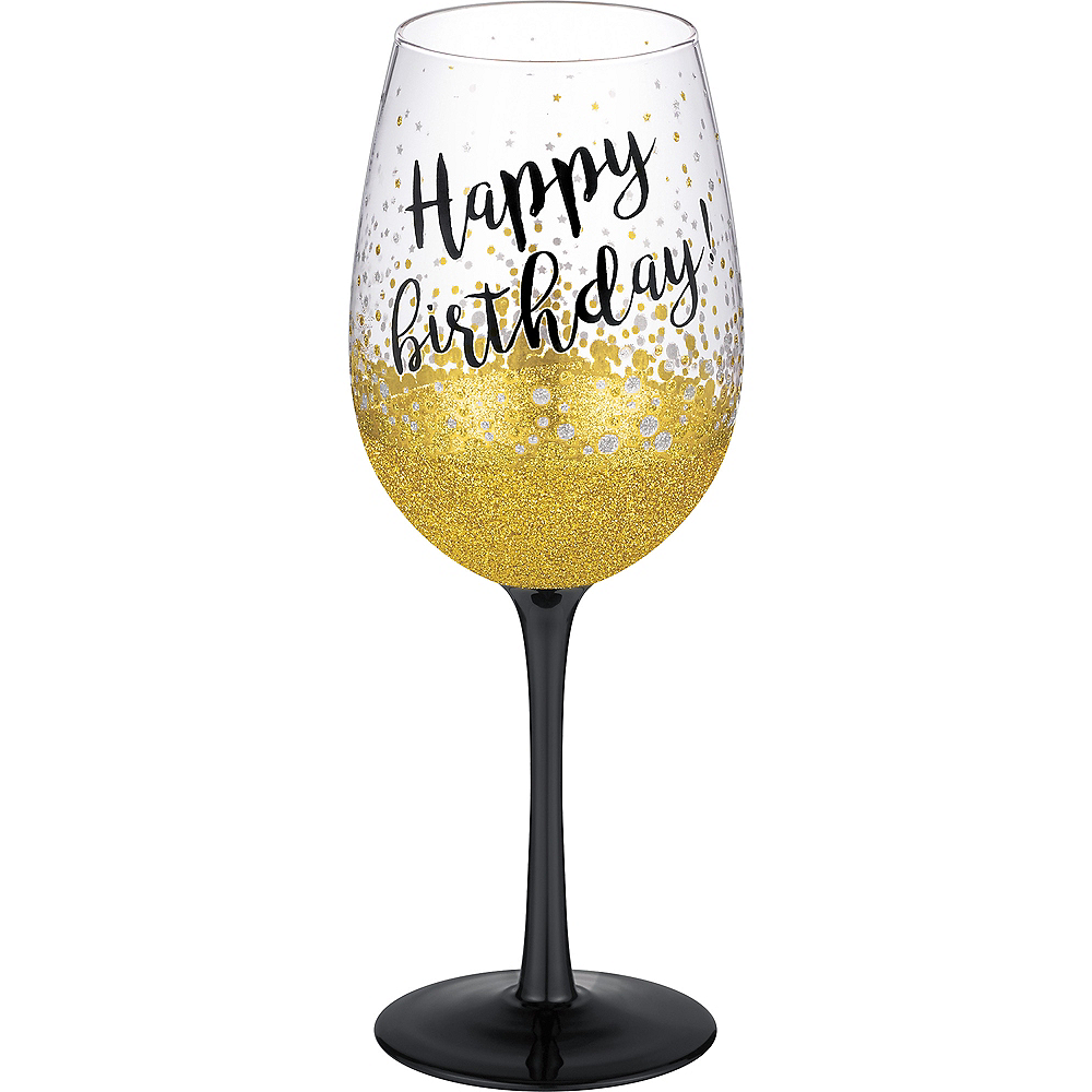 Glitter Gold Grasslands Happy Birthday Wine Glass 15oz
