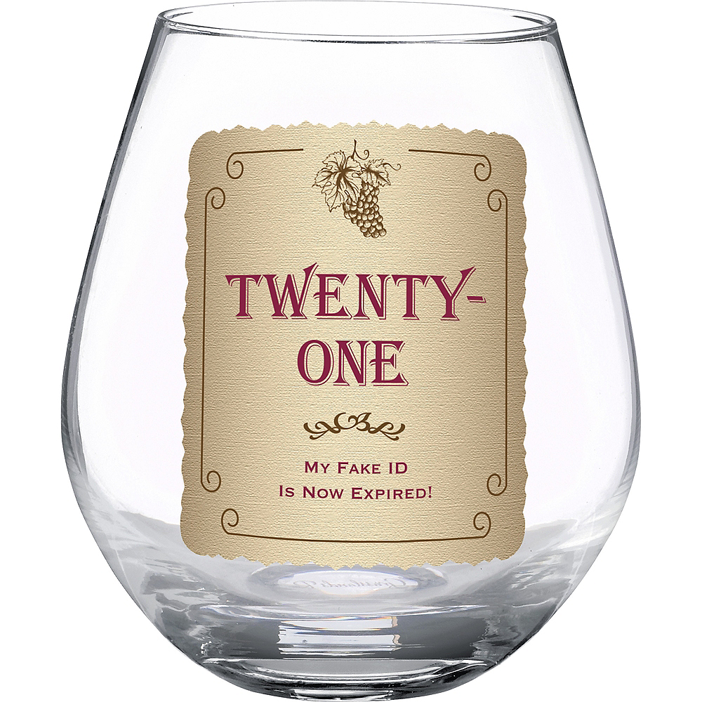 Nav Item for 21st Birthday Stemless Wine Glass Image #1