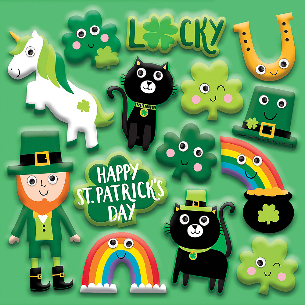 St. Patrick's Day Character Puffy Stickers 1 Sheet Image #1