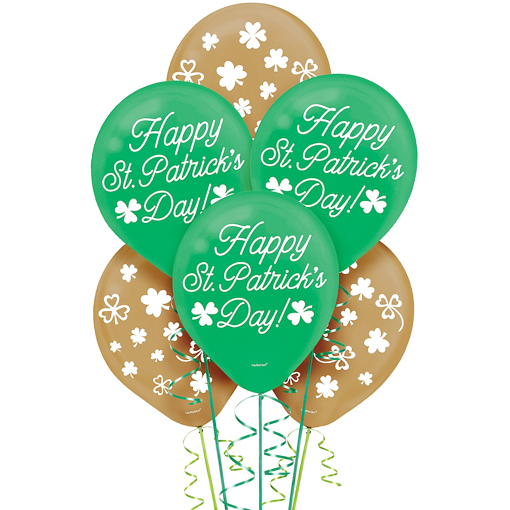 Green & Gold St. Patrick's Day Balloons 15ct Image #1