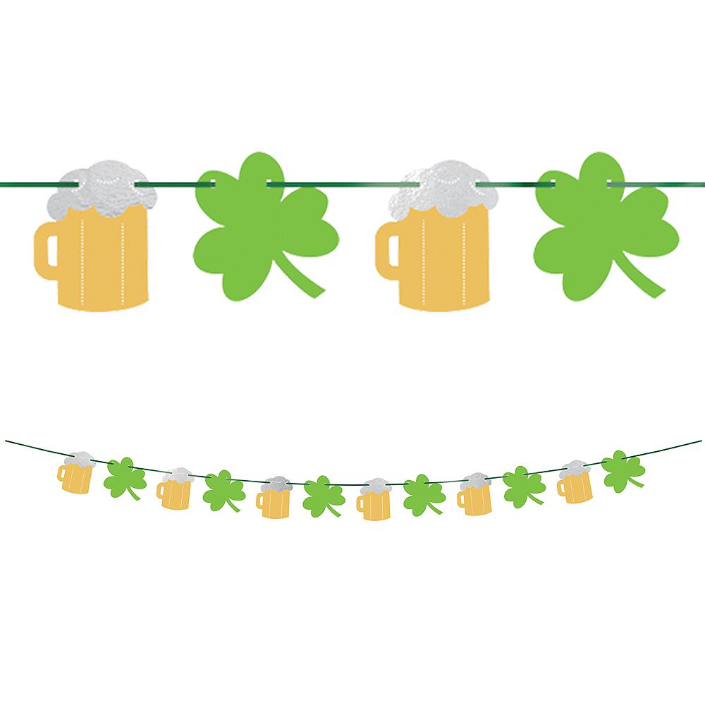 Metallic St. Patrick's Day Beer and Shamrocks Banner Image #1