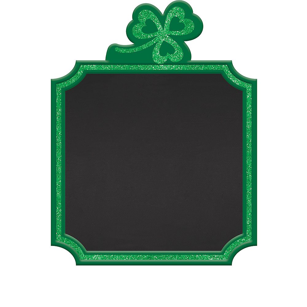 Glitter Shamrock St. Patrick's Day Chalkboard Easel Sign Image #1