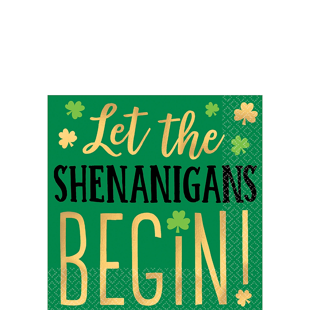 Shenanigans St. Patrick's Day Beverage Napkins 16ct Image #1