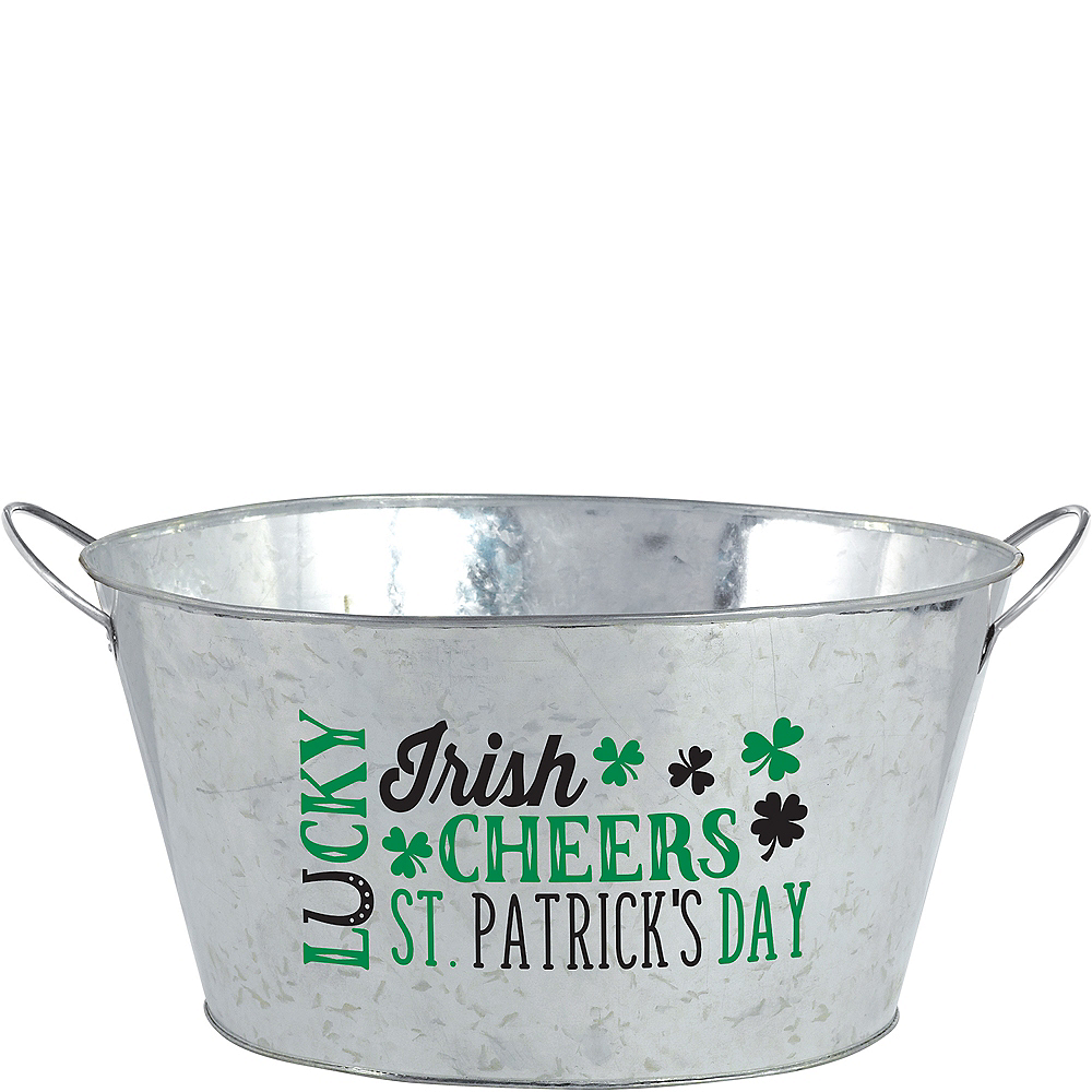 St. Patrick's Day Galvanized Party Tub Image #1