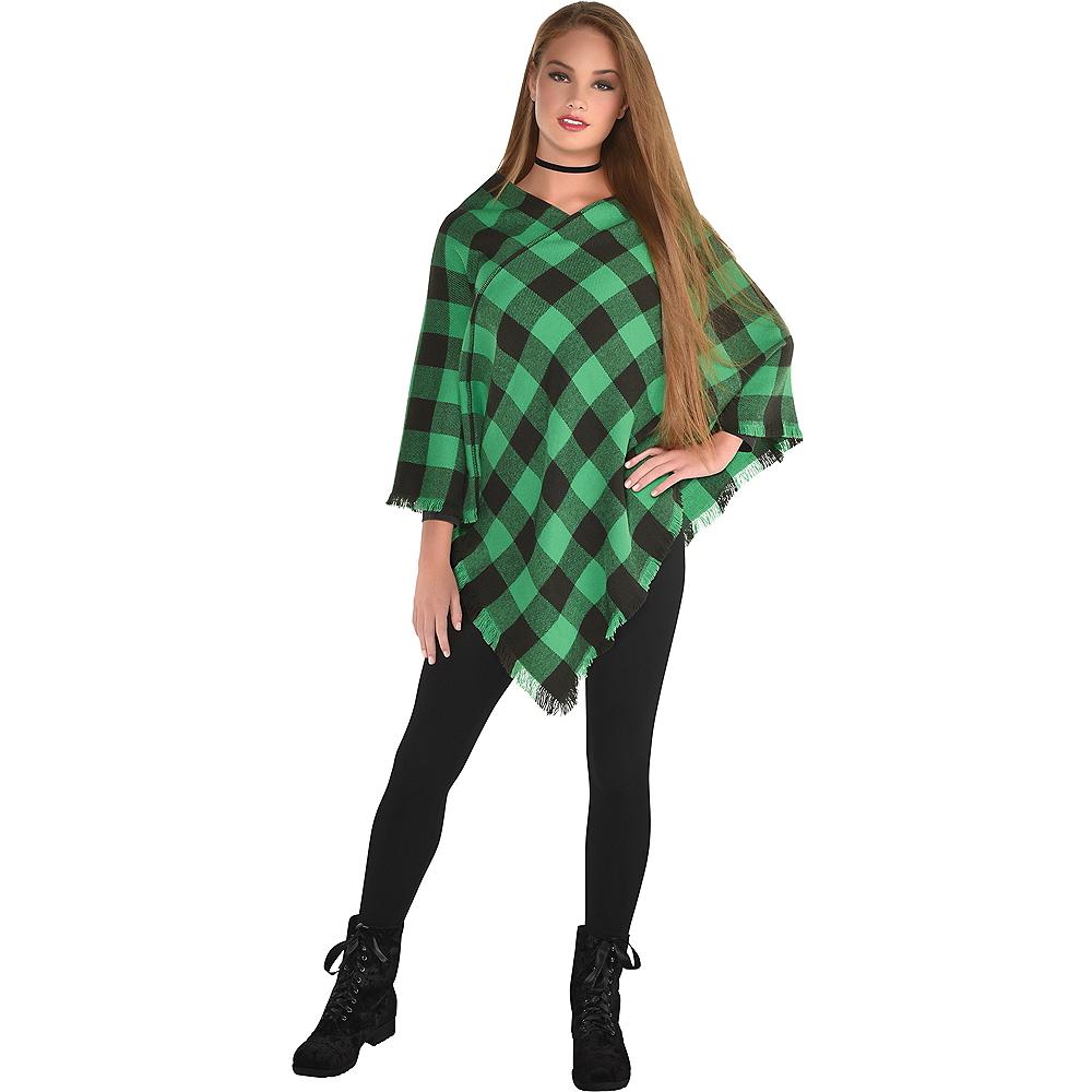 Womens Green Checkered Plaid Poncho Image #1