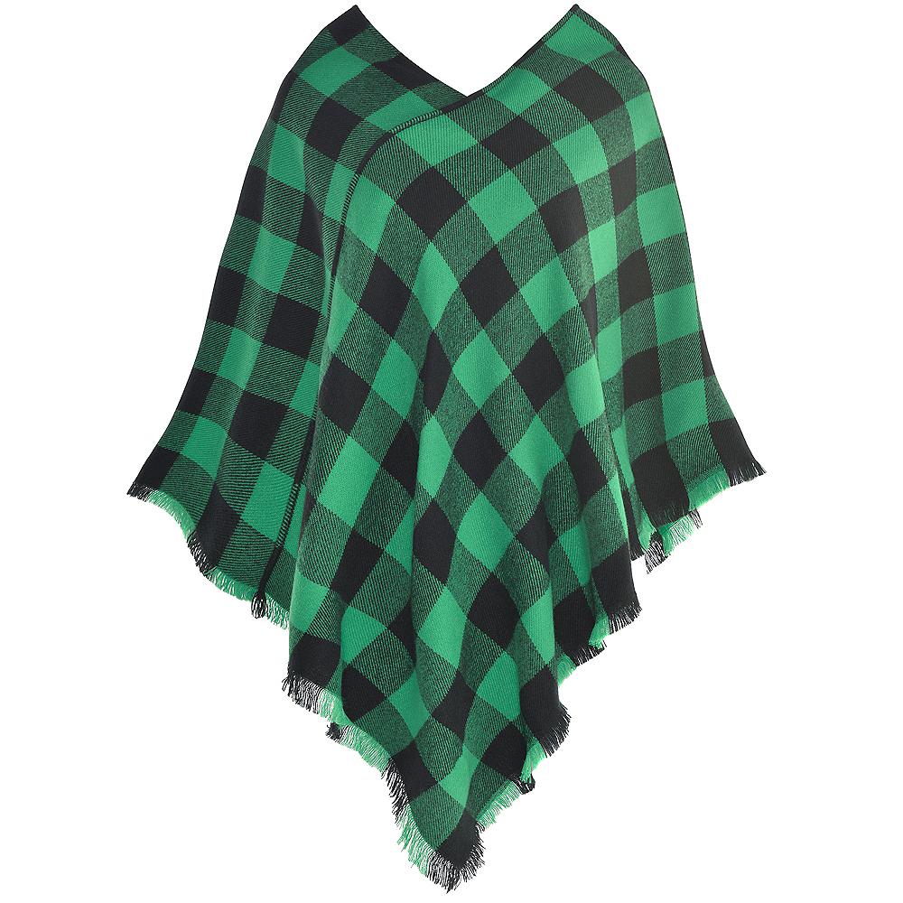 Womens Green Checkered Plaid Poncho Image #2