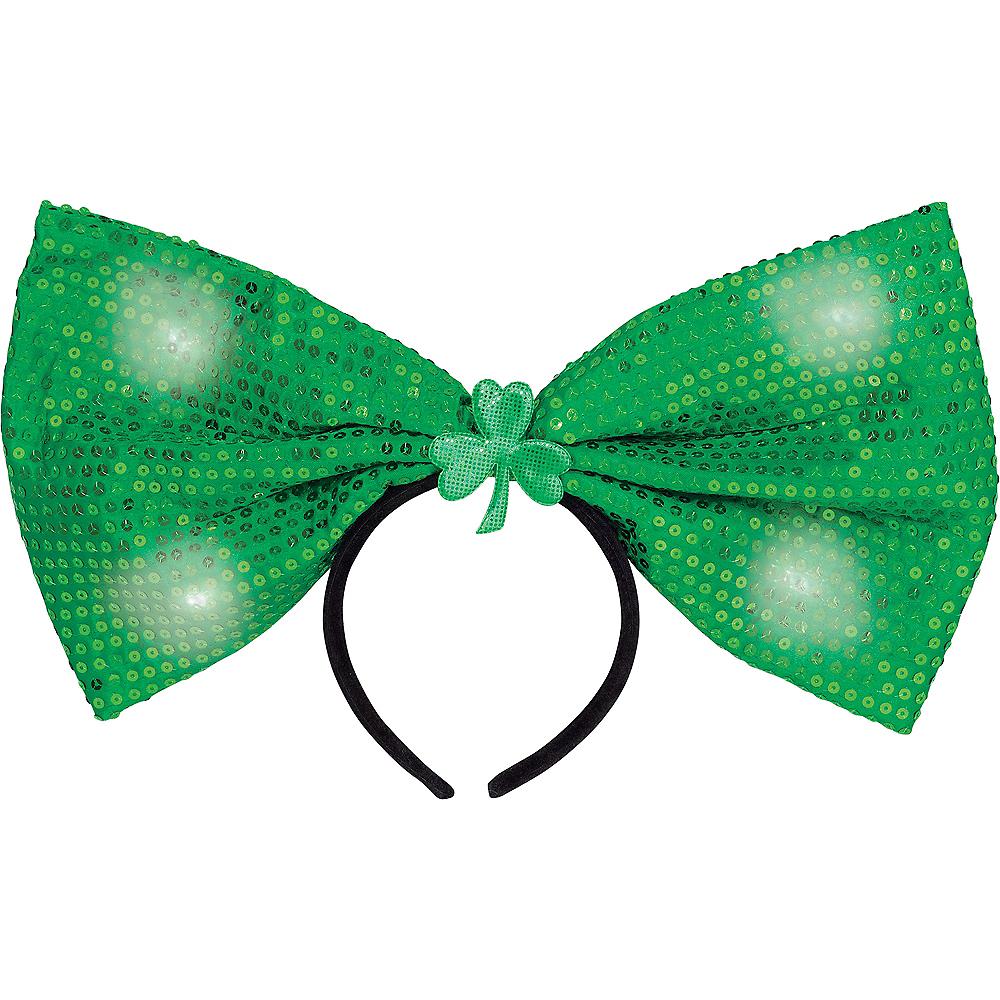 Light-Up Giant Green Sequin Bow Headband Image #1