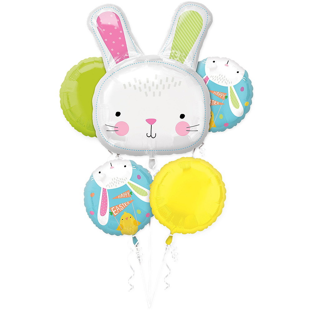 Hello Bunny Balloon Bouquet 5pc Image #1