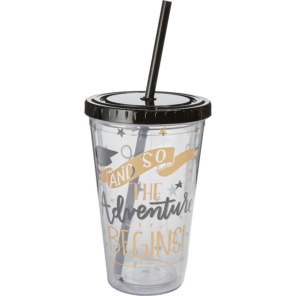 The Adventure Begins Double Wall Tumbler with Straw Image #1