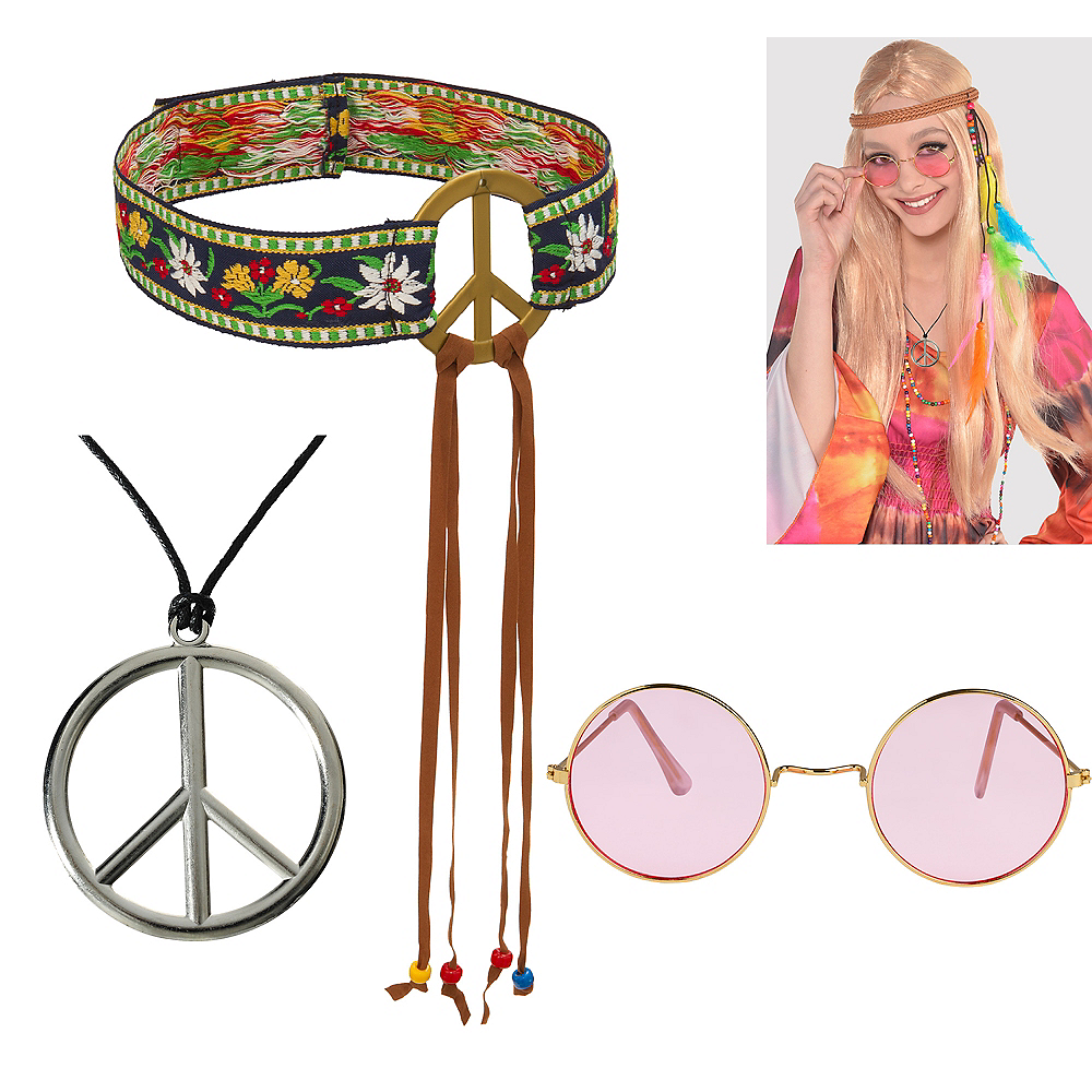 Womens 60s Hippie Accessory Kit Image #1