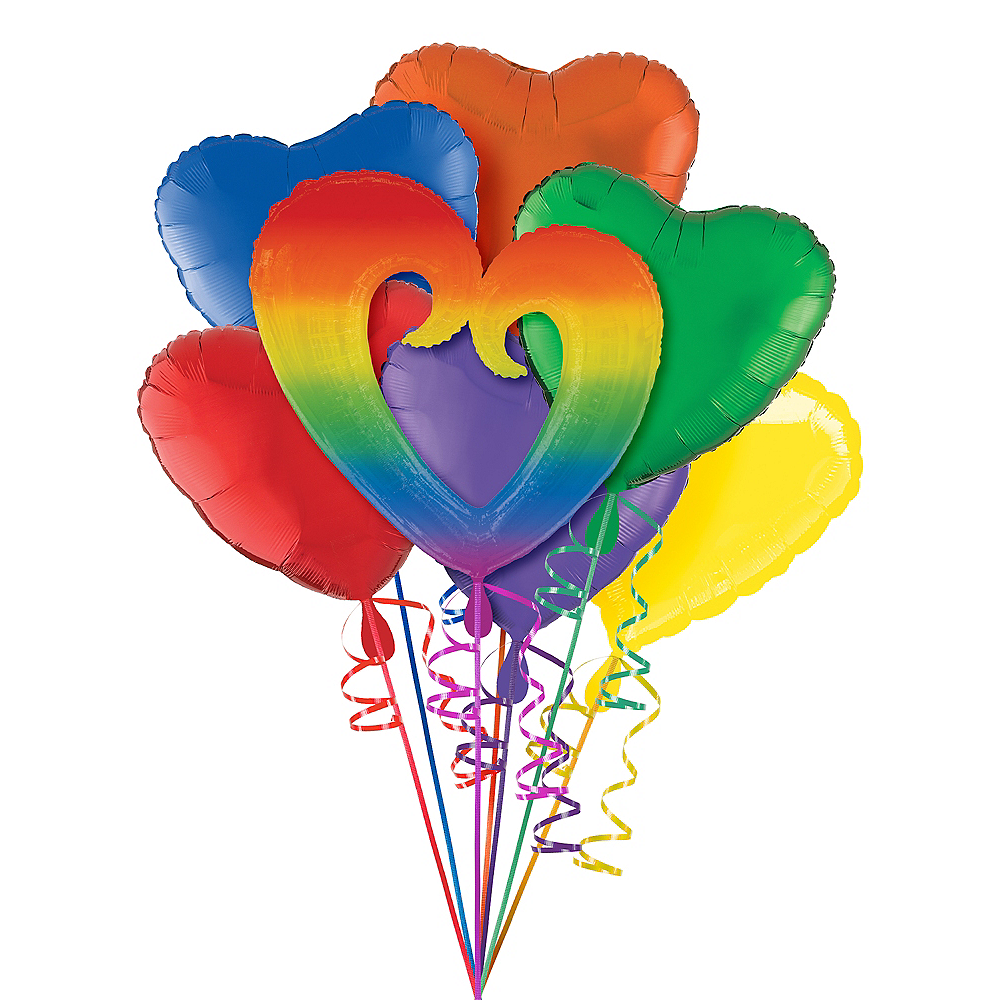 Giant Rainbow Open Heart Balloon Kit 7pc Image #1