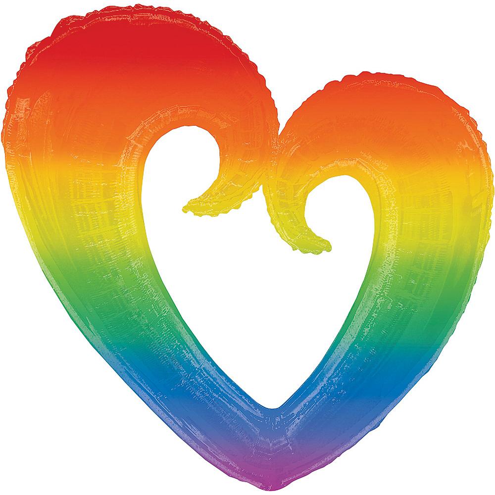 Giant Rainbow Open Heart Balloon Kit 7pc Image #2