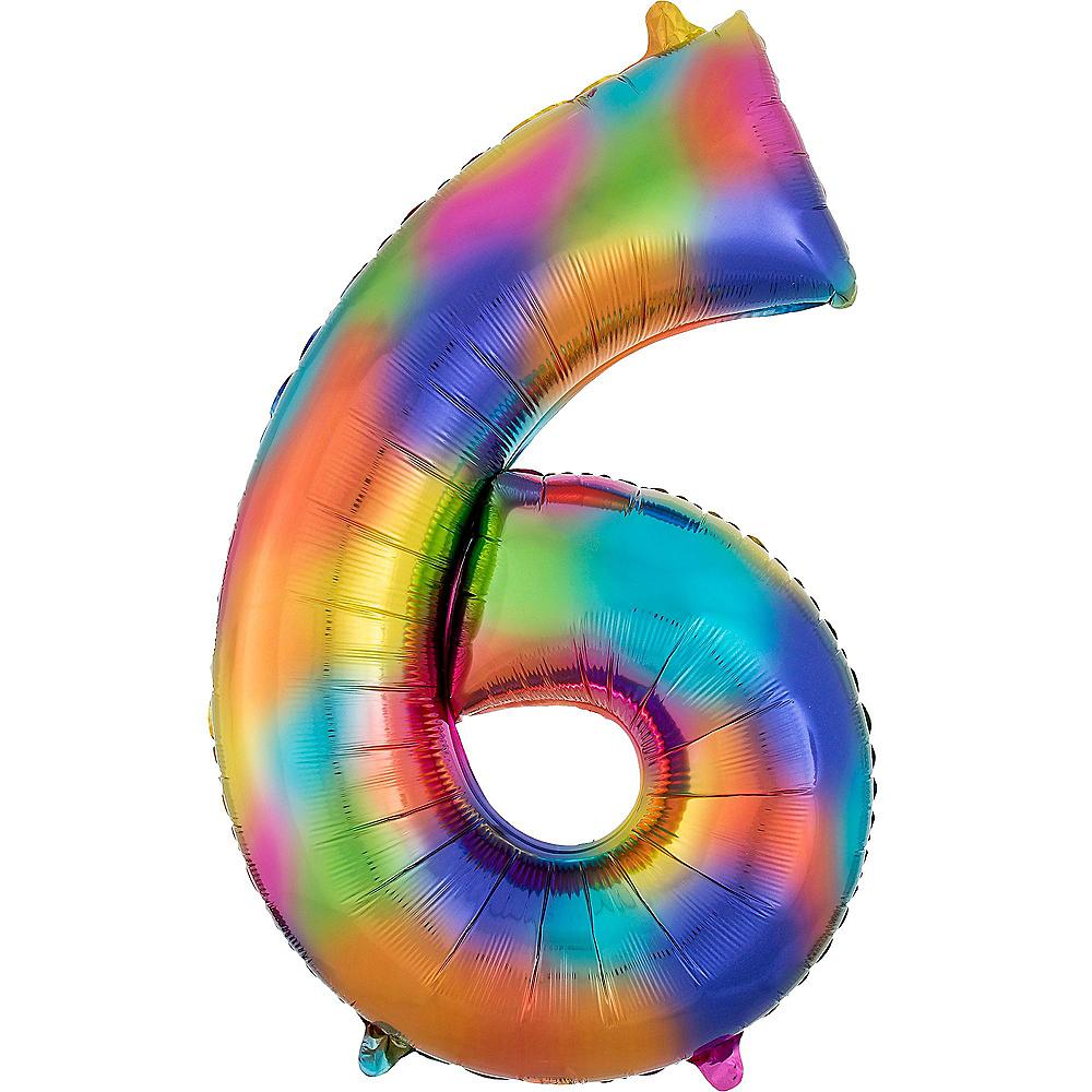 34in Rainbow Splash Number Balloon (6) Image #1