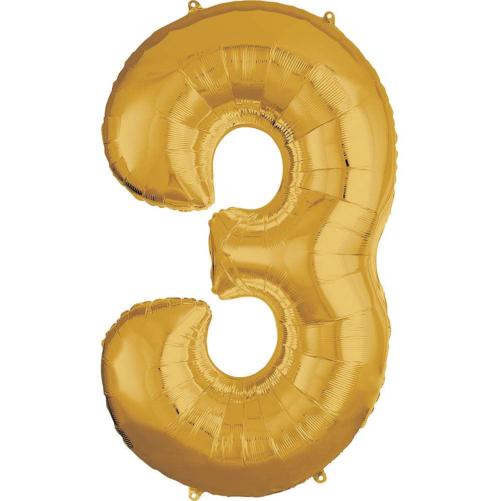 50in Gold Number Balloon (3) Image #1