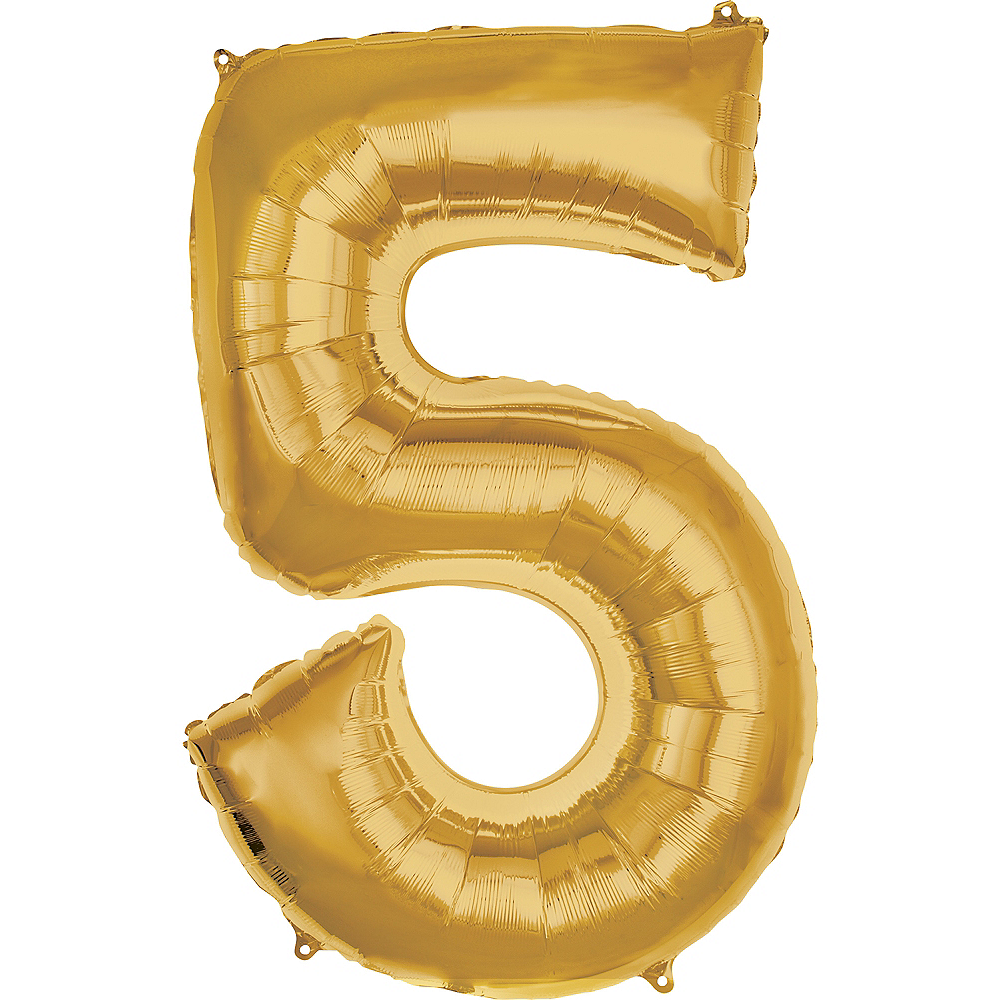 50in Gold Number Balloon (5) Image #1