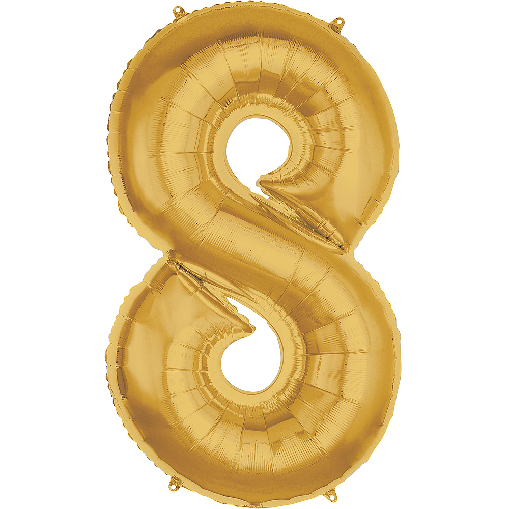 50in Gold Number Balloon (8) Image #1