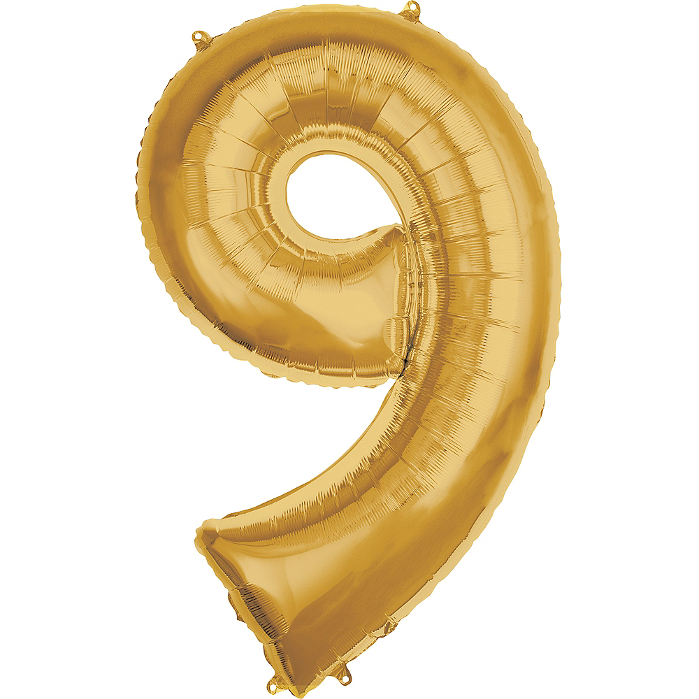 50in Gold Number Balloon (9) Image #1