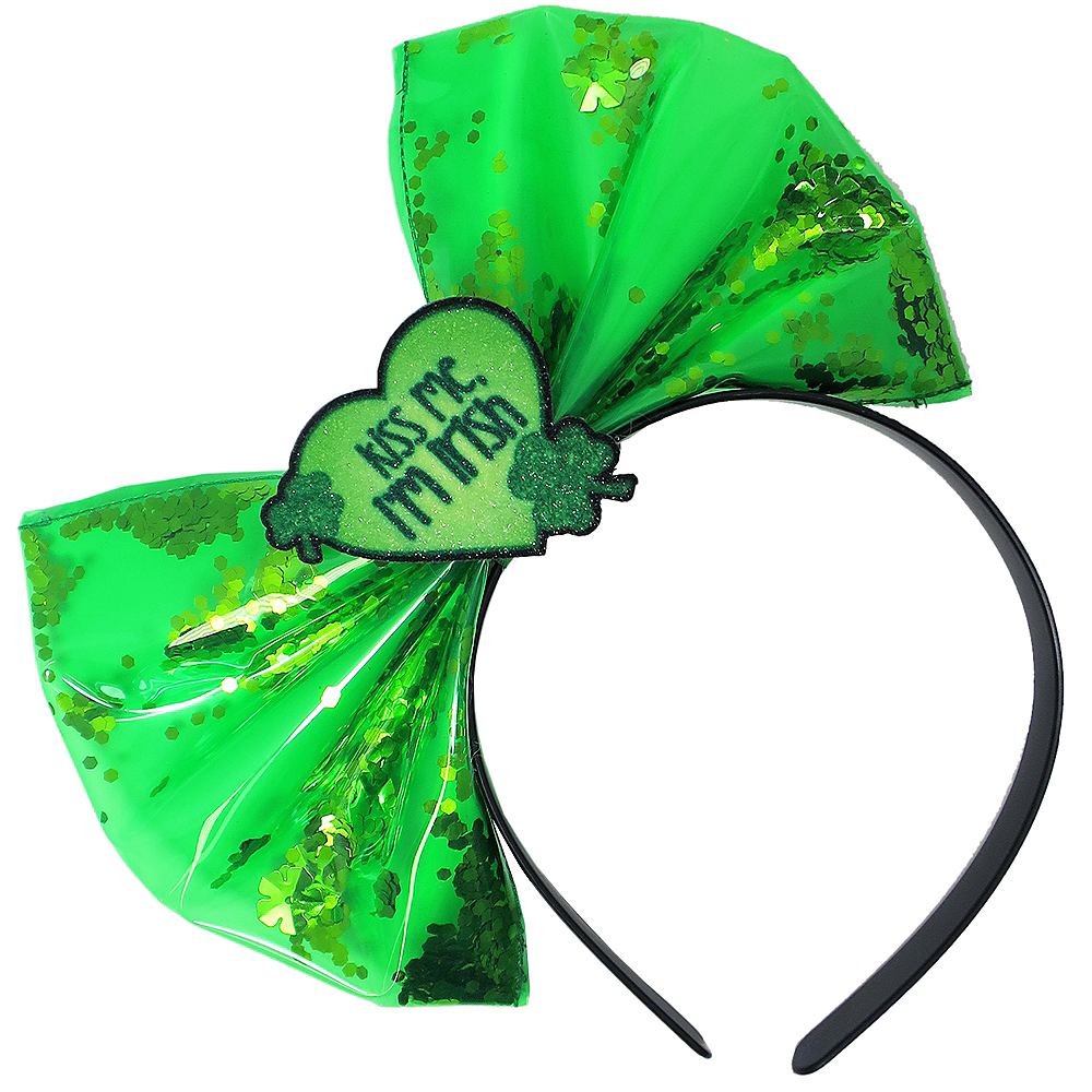 Glitter Kiss Me I'm Irish Bow Headband Image #1