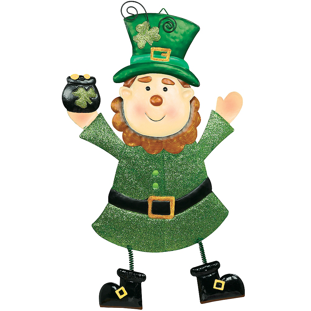 Cheery Leprechaun Metal Hanging Sign Image #1