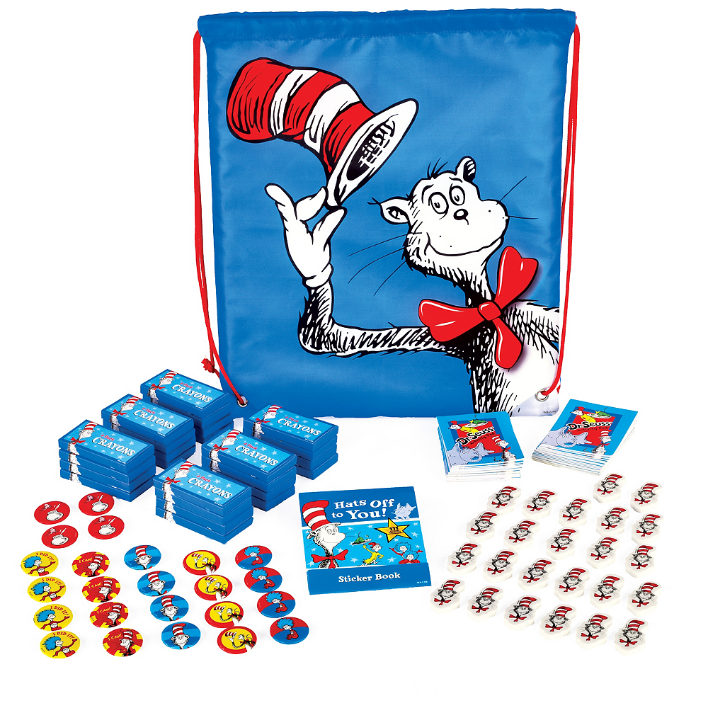 Exclusive Dr. Seuss Drawstring Backpack with Favors for 24 Image #1