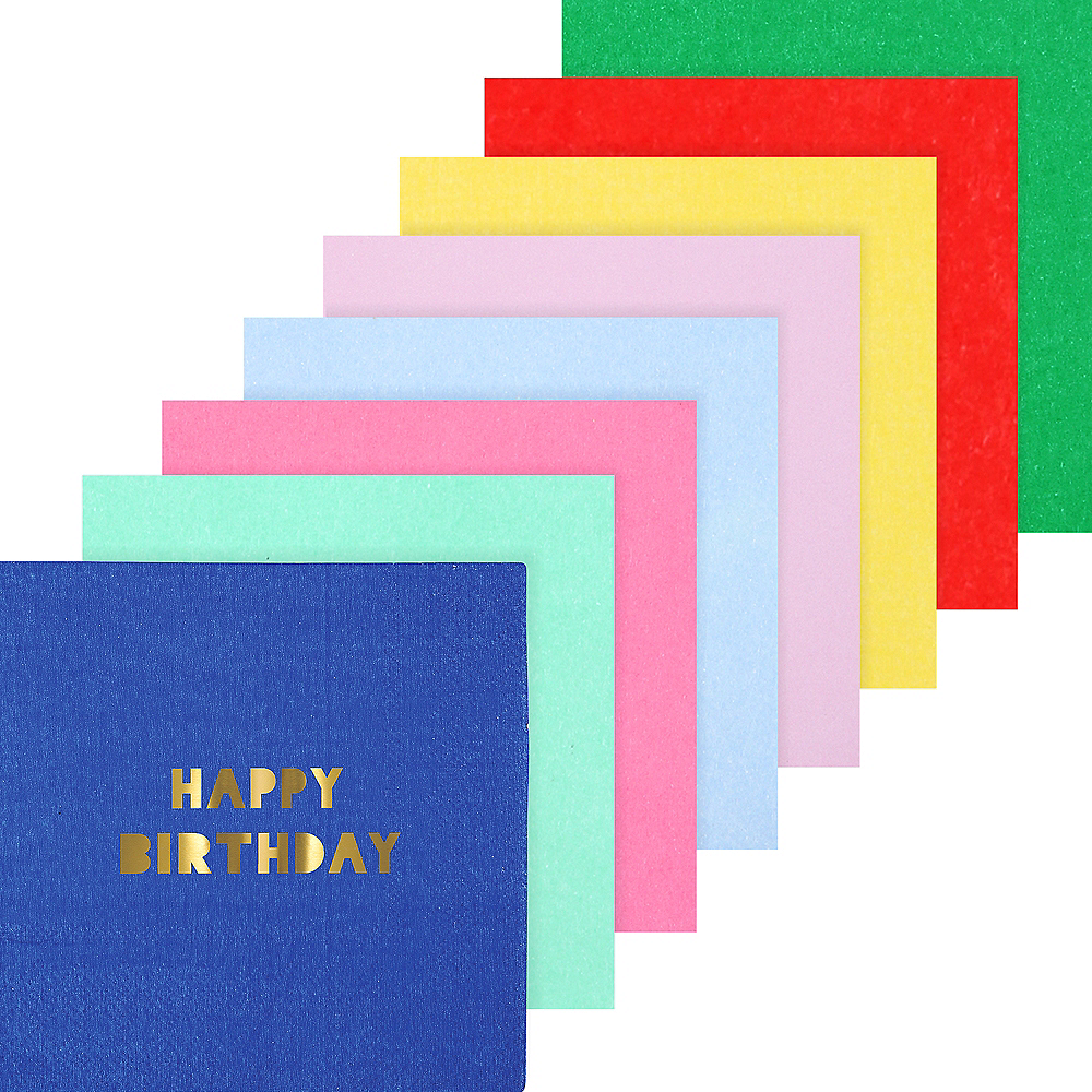 Assorted Color Metallic Happy Birthday Lunch Napkins 16ct Image #1