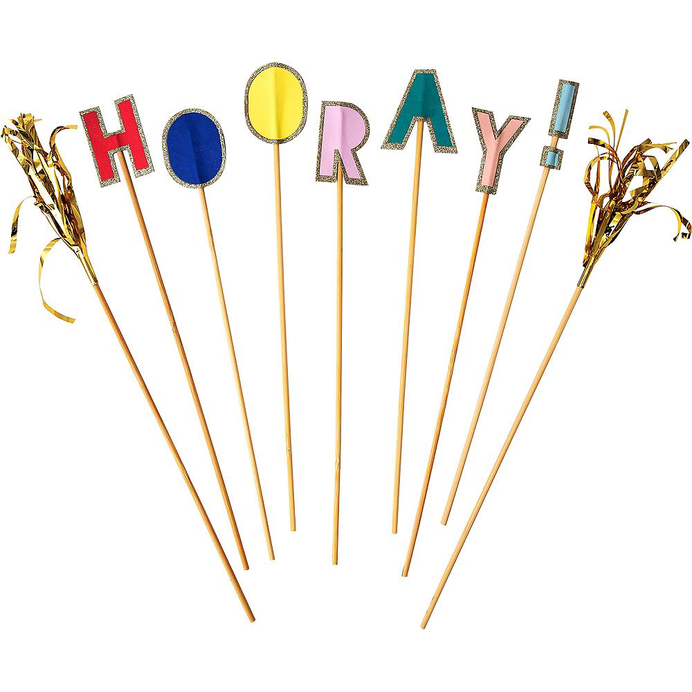 Glitter Hooray Cake Picks 9ct Image #1