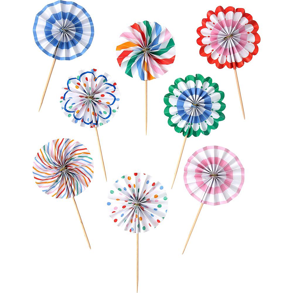 Multicolored Dots & Stripes Pinwheel Cupcake Picks 8ct Image #1