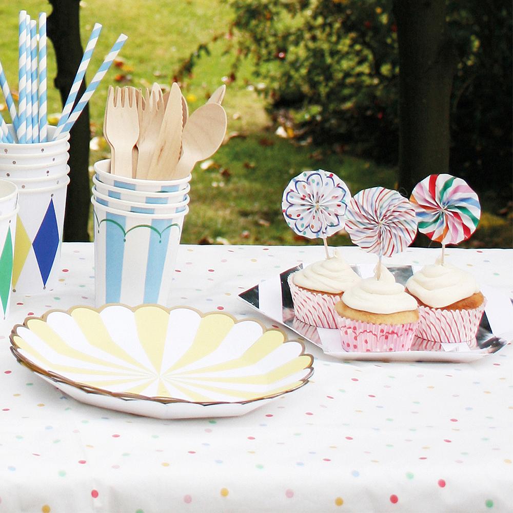 Multicolored Dots & Stripes Pinwheel Cupcake Picks 8ct Image #2