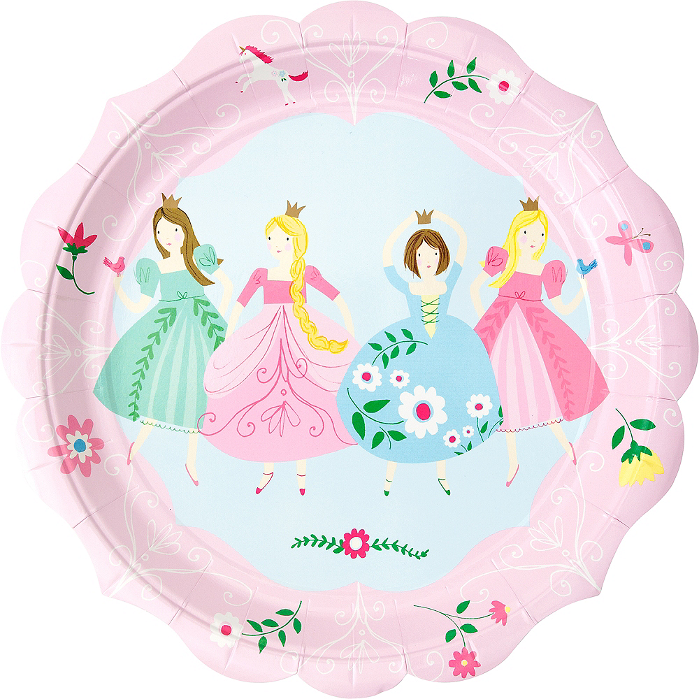 Pink Princess Lunch Plates 12ct Image #1