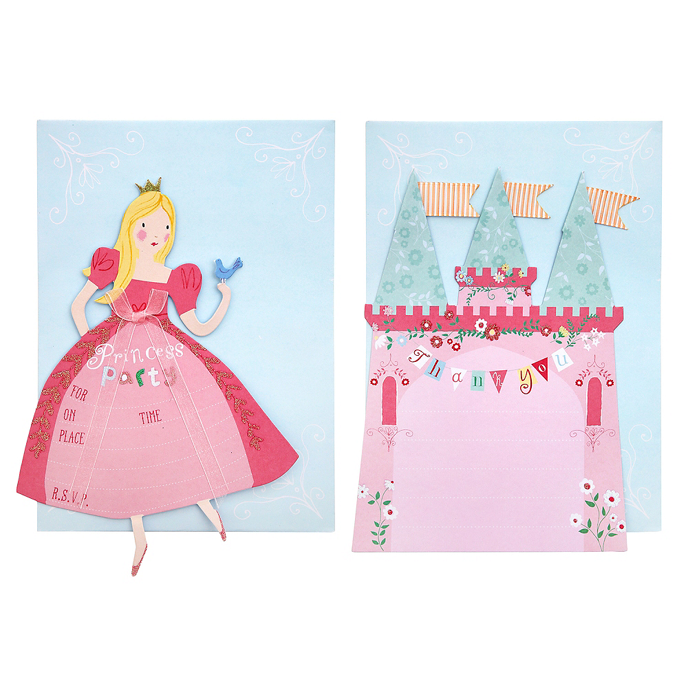 Pink Princess Invitations and Thank You Notes 8ct Image #1