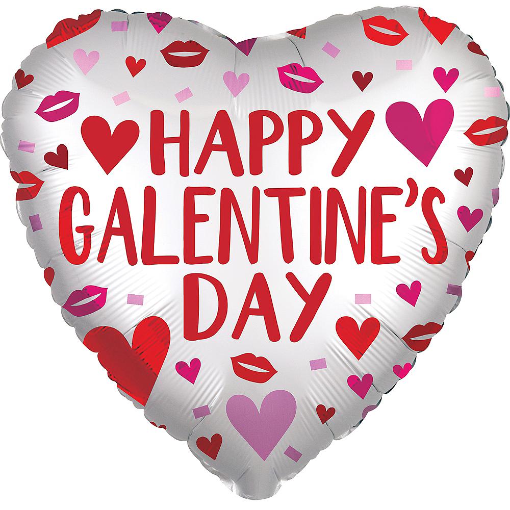White Galentine's Day Satin Heart Balloon Image #1