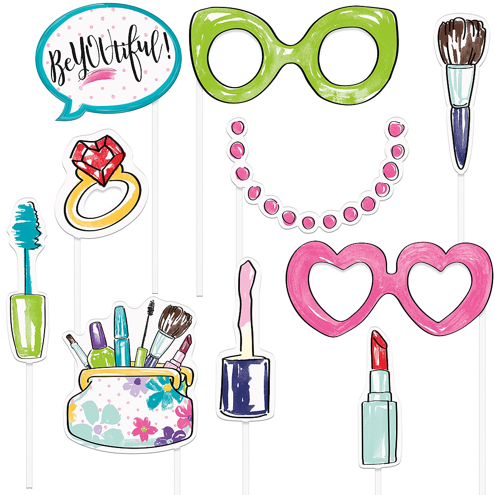 Spa Party Photo Booth Props 10ct Image #1