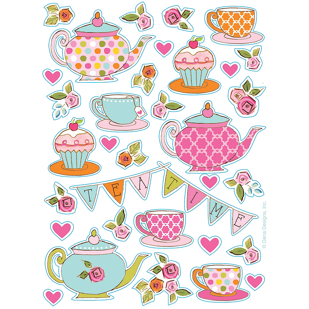 Tea Time Happy Birthday Stickers 4 sheets Image #1