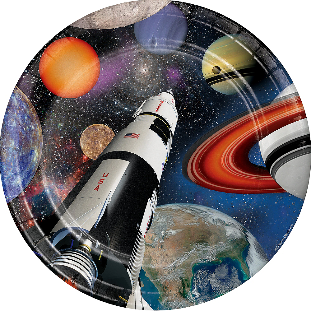 Space Blast Lunch Plates 8ct Image #1