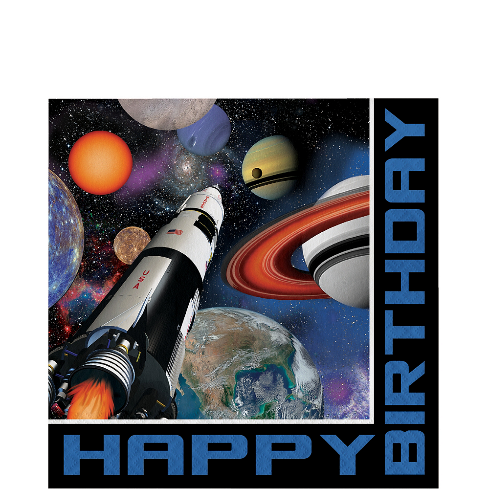 Space Blast Happy Birthday Lunch Napkins 16ct Image #1
