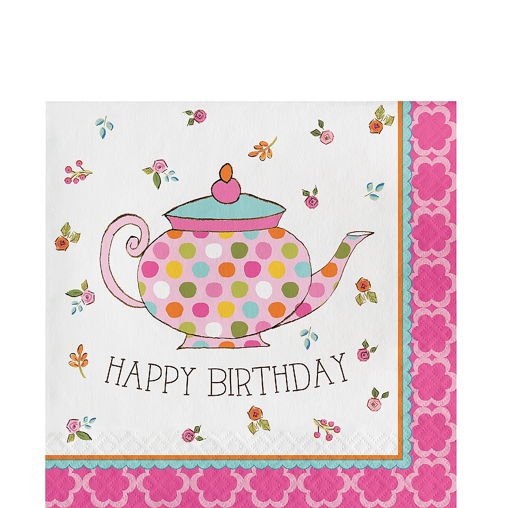 Tea Time Happy Birthday Lunch Napkins 16ct Image #1