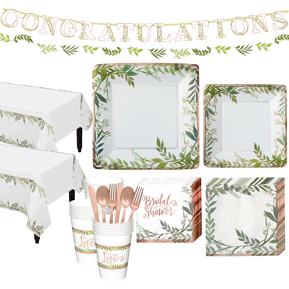 Metallic Floral Greenery Bridal Shower Party Kit for 32 Guests Image #1