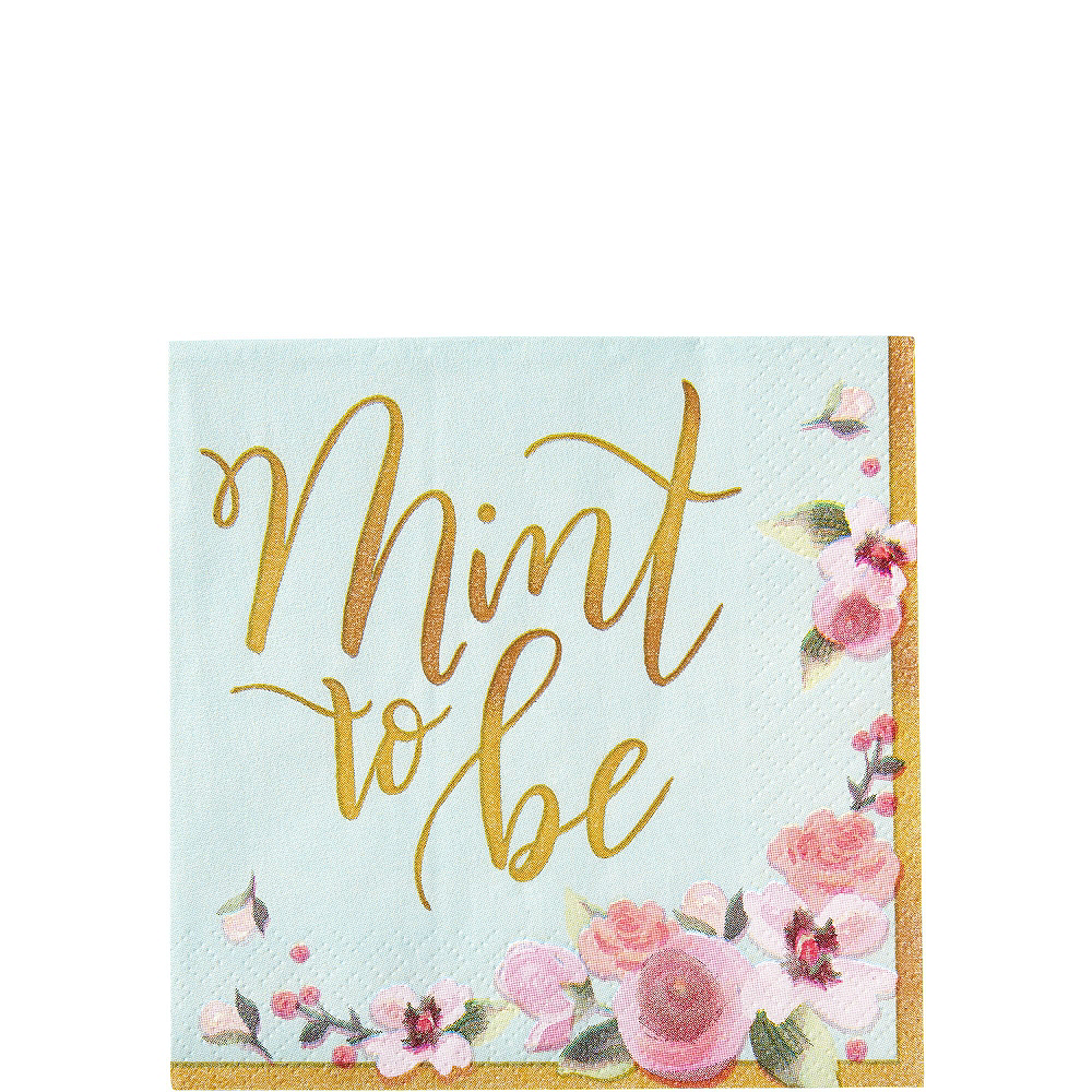 Mint to Be Floral Bridal Shower Party Kit for 32 Guests Image #4