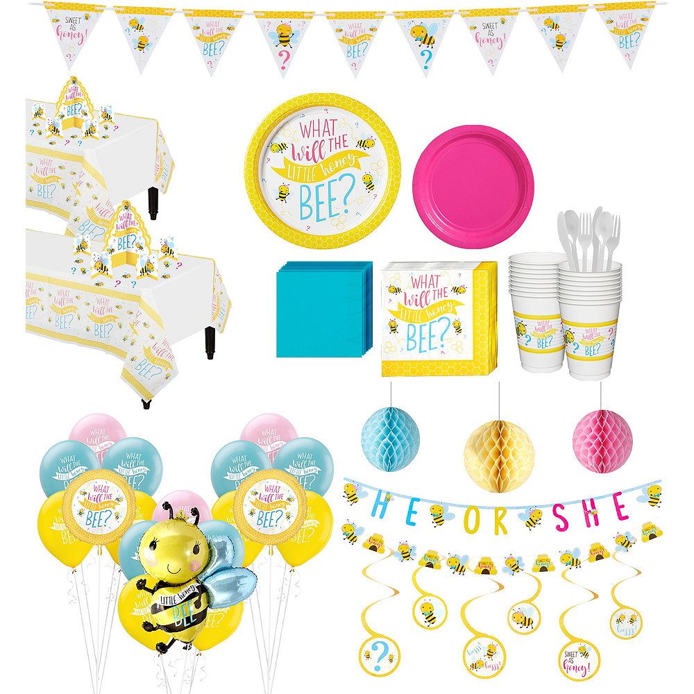 Ultimate Little Honey Bee Gender Reveal Party Kit for 32 Guests Image #1