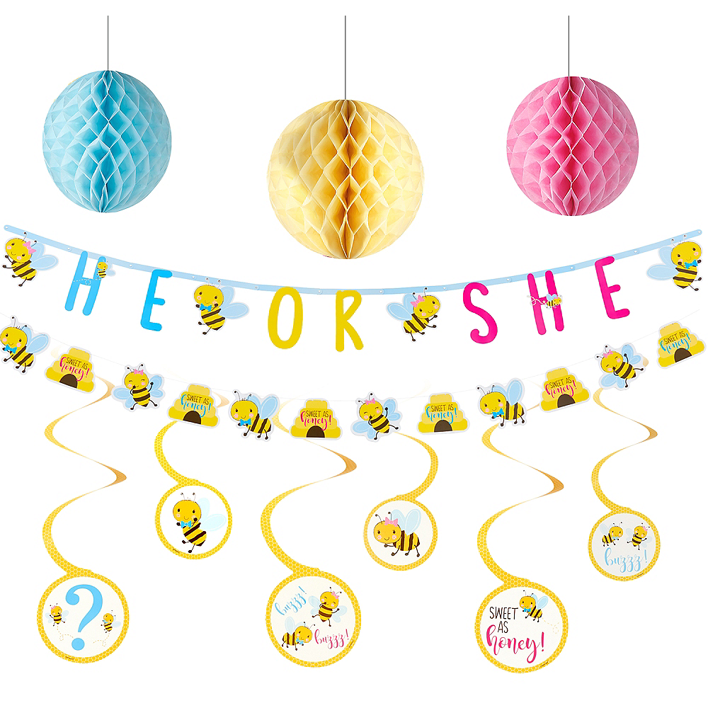 Little Honey Bee Gender Reveal Party Decorating Kit Image #1