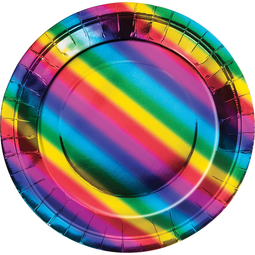 Metallic Rainbow Lunch Plates 8ct Image #1