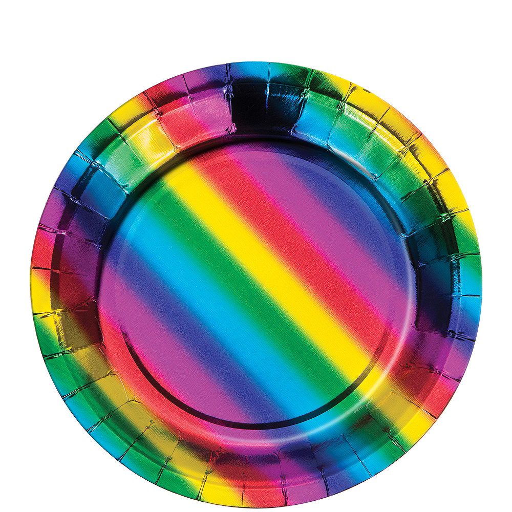 Metallic Rainbow Dessert Plates 8ct Image #1